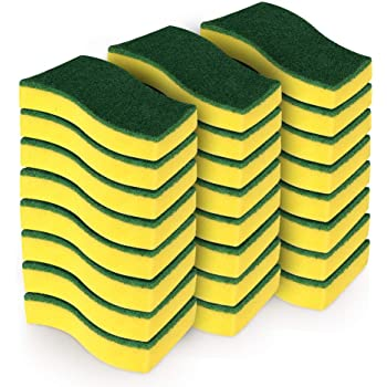 """AIDEA Heavy Duty Scrub Sponge,Cleaning Scrub Sponge,Stink Free Sponge,Effortless Cleaning Eco Scrub Pads for Dishes,Pots,Pans All at Once,Size: 4.3""""x 3.12"""" x 1.2""""—24 Count"""