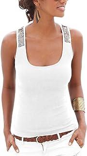 Yidarton Women's Sequin Vests Casual Tank Tops Sleeveless T Shirt Blouses(White,S)