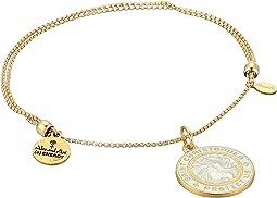 Saint Christopher White Enamel Medium Precious Metal Expandable Chain Bracelet w/ Silver Finish Filled Charm
