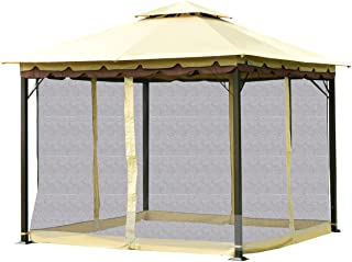 Tangkula Gazebo 2-Tier 10'x10' Outdoor Patio Fully Enclosed Steel Frame Gazebo Canopy Tent with Black Netting