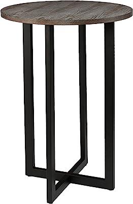 Amazon.com: HomCom Round Industrial Metal Wood Top Bar ...