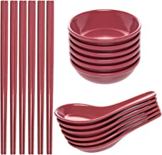 Zak! (24 Piece) Asian Reusable Chopsticks BPA-Free Plastic Utensils Set With Reusable Chopsticks, Soup Spoons For Wonton Pho & Ramen, Small Bowl Dishes For Dipping Sauces Like Soy & Wasabi