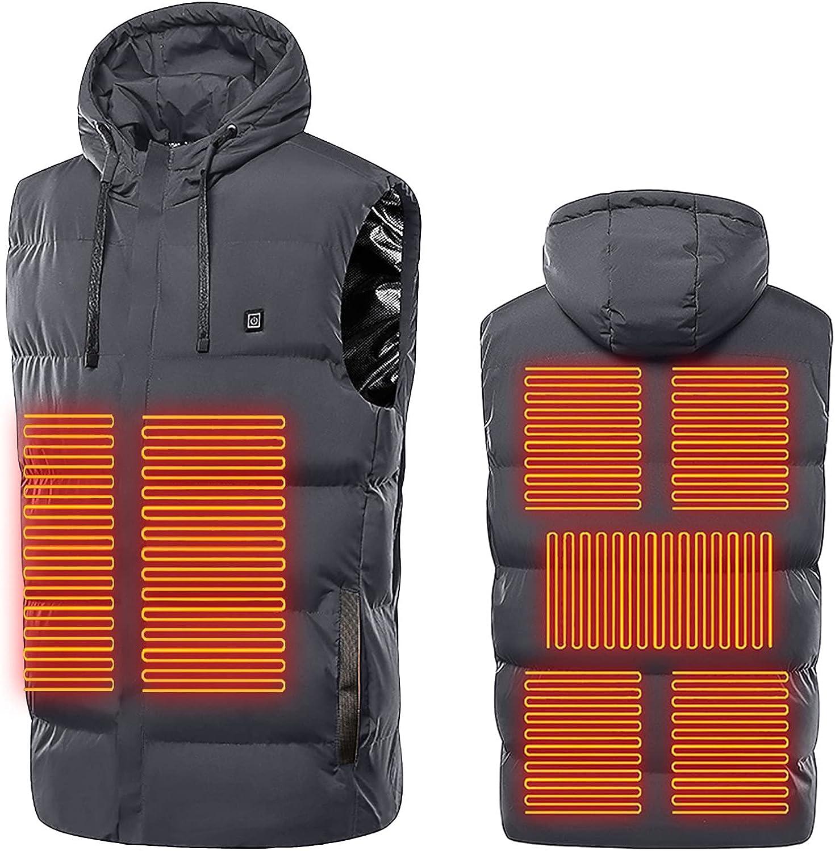 Men's Heated Vest Winter Warm Waistcoat Washable Lightweight Electric Heating Down Jacket Apparel USB Charging