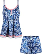 SofiePJ Women's Printed Cotton Pajama Set Jersey Racerback Tank Top with Short Pants