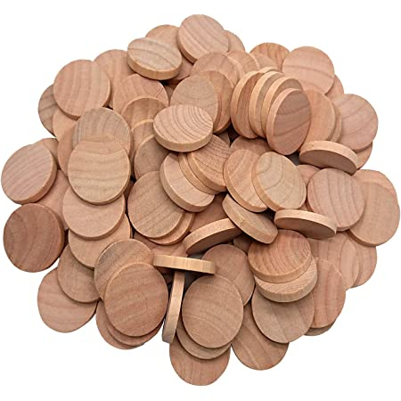 AxeSickle 1 Inch Natural Wood Slices Unfinished Round Wood Coins for Arts & Crafts Projects, Board Game Pieces, Ornaments, 120 per Pack.