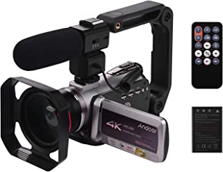 كاميرا فيديو رقمية محمولة HDV-AZ50 من Andoer 4K 30FPS واي فاي 3 بوصة IPS تعمل باللمس 64X تقريب رقمي رؤية ليلية بالأشعة تحت الحمراء مع بطارية كاميرا 0.39X عدسة عريضة الزاوية CM-520