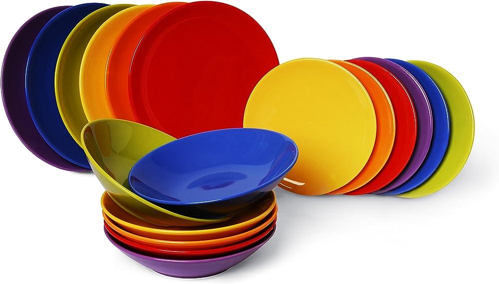 Excelsa trendy, servizio di piatti da 18 pezzi,  in ceramica, multicolor 48757_Multicolor