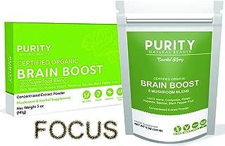 Brain Boost Nootropics Powder Blend (110 Servings) - 6 Mushroom Nootropic Powder Focus Supplement, Bonus Bamboo Spoon