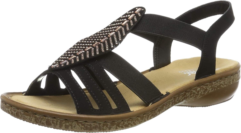 Rieker Women's 628G6-00 Closed Toe Max 83% OFF Sandals Schwarz Max 90% OFF 00