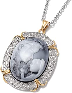 Gray Cameo Crystal Pendant Necklace in ION Plated Yellow Gold & Stainless Steel 20