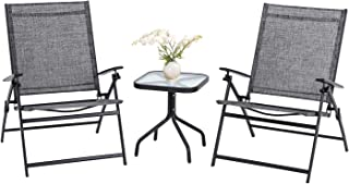 Patiomore Outdoor 3 Pieces Bistro Set Patio Folding Chairs, Adjustable Reclining Lounge Chair with Glass Table
