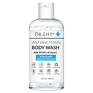 Dr. Lift Antibacterial Body Wash, 8 oz - Gentle & Effective Shower Gel - Made in America
