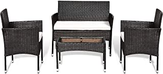 Goplus 4-Piece Rattan Patio Furniture Set, Garden Lawn...
