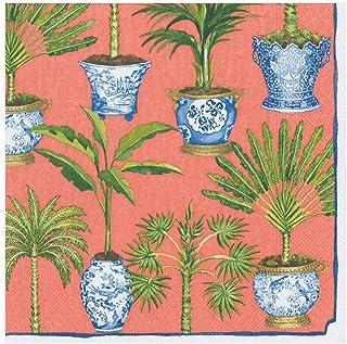 Caspari Potted Palms papieren diner servetten in koraal, vier verpakkingen van 20