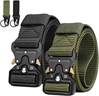 Men Tactical Belt, Military Style Heavy Duty Nylon Canvas Waist Belts with Quick-Release Metal Buckle For Hunting Training...