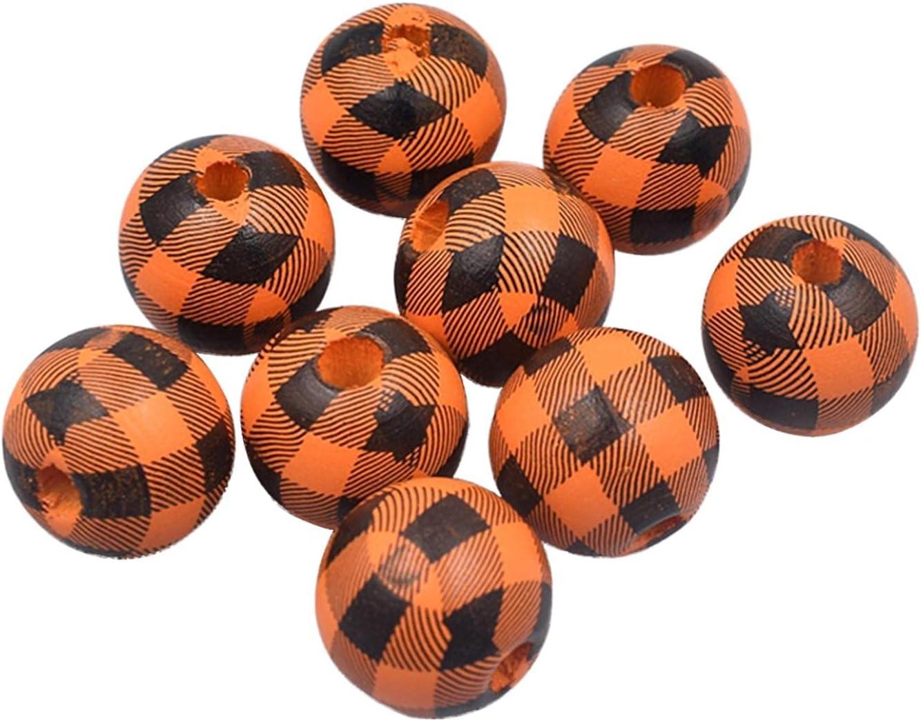 Popular standard 50PC Plaid Wood Beads Print DIY Garlan Rustic Wooden Max 52% OFF