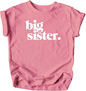 Olive Loves Apple Bold Big Sister Colorful Sibling Reveal Announcement T-Shirt for Baby and Toddler Girls Sibling Outfits
