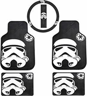 U.A.A. INC. 5pc Star Wars Stormtrooper Front Rear Rubber Floor Mats & Steering Cover Set