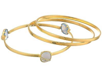 SOLE / SOCIETY 3-Pack Bangle Set (12K Soft Polish Gold/Crystal/Blue Agate) Bracelet