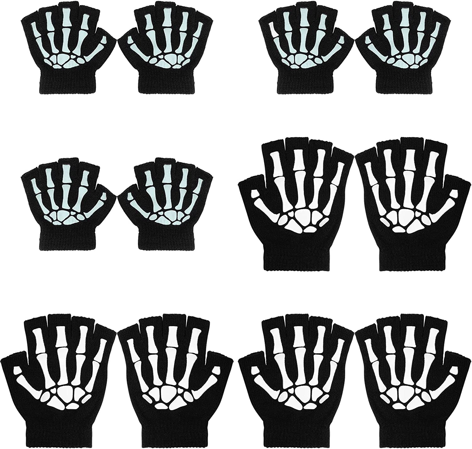 Tongcloud 6 Pairs Unisex Stretchy Hand Warmer Skeleton Knit Glow in The Dark for Adult and Kids