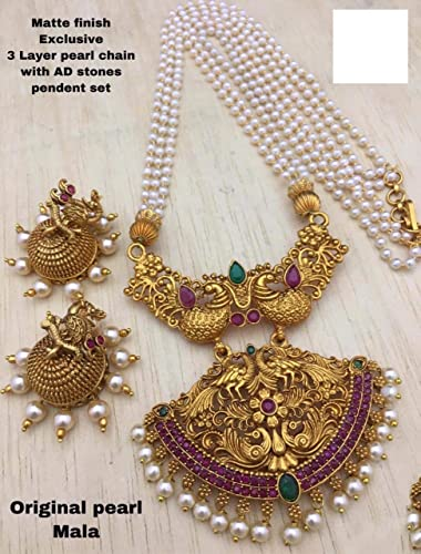 Latest Collection Of Pearl Jewellery Set For Women And Girls With Beautiful Pendent And Matching Jumki Earrings