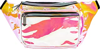 SoJourner Fanny Pack - Galaxy, Rave, Festival, Holographic (Multiple Styles) (Holographic White Pink)