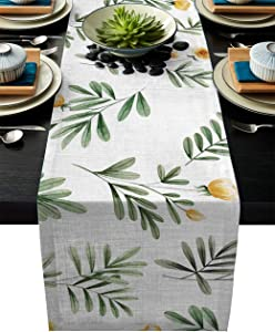 BE-FAMILY Geometric Rectangle Table Runner, Spring Floral Leaves and Flowers Pattern - Modern Table Runners for Wedding Party Holiday Dinner Home Decor, 14 x 72 Inches
