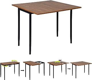 MEUBLE COSY Salle a Manger Extensible Table Console Cuisine Scandinave, Plateau en MDF Armature en Métal, 45-90x90x76cm