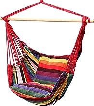 MHXY utomhusprodukt hängande rep stol bärbar hängstol gungstol med 2 kuddar för camping inomhus utomhus hängmatta gungor l...