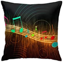 """BUN Throw Pillow Covers, Colorful Music Notes Cotton Polyester Cushion Square Cases Pillowcases Sofa Home Decor 18"""" X 18"""""""