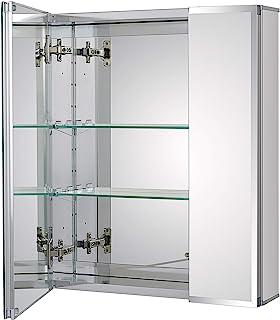 Fundin Aluminum Bathroom Medicine Cabinet with Framless Double Sided Mirror Door20 x 24 Inch Recess or Surface Mount;2 Doo...