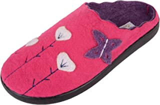 ABSOLUTE FOOTWEAR Womens Soft Felt Slip On Mules/Slippers/Indoor Shoes with Floral Design