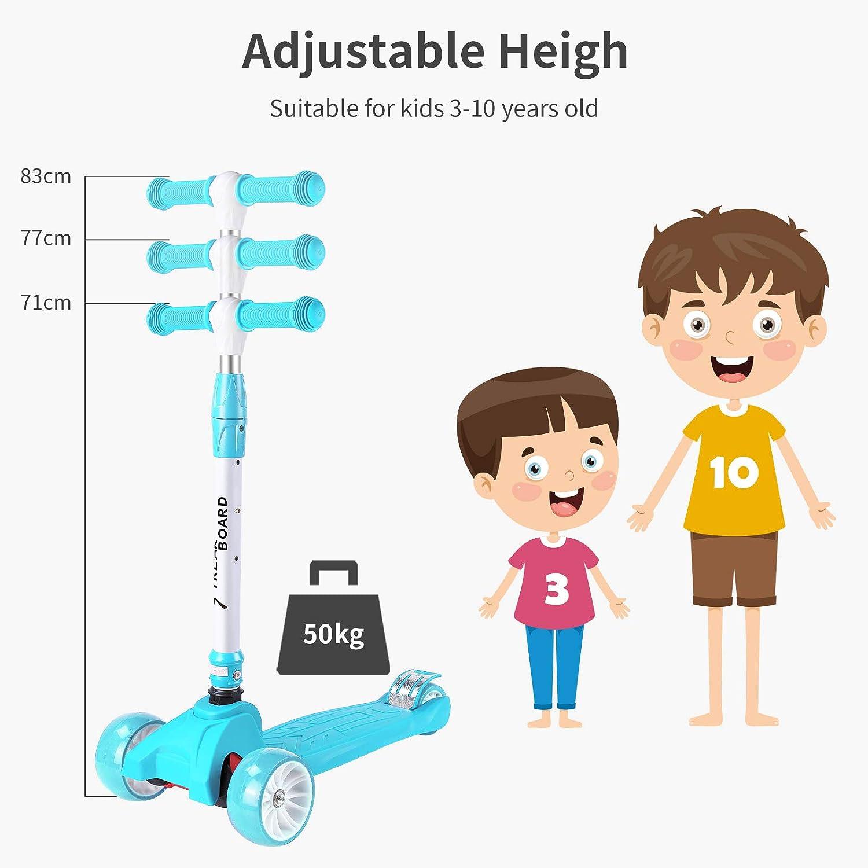 streakboard Scooter Kinder, Dreiradscooter, Kickboard, Kinderroller für Mädchen und Jungen, Höhenverstellbarer, faltbar, mit LED PU Räder, bis 50kg Belastbar Blau