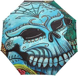 Umbrella Colorful Skull Art Golf Travel Sun Rain Windproof Auto umbrellas with UV Protection for Girls Boys Kids