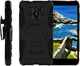 TurtleArmor | Compatible with ZTE Imperial Max Case | Max Duo Case | Kirk [Octo Guard] Impact Proof Absorber Silicone Case Tough Hard Kickstand Belt Clip Holster Music - Black