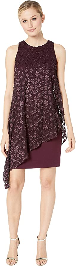 Sleeveless Crepe Shift with Embroidered Chiffon Overlay