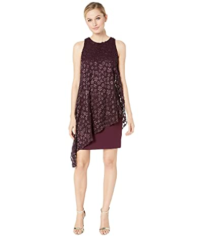 Tahari by ASL Sleeveless Crepe Shift with Embroidered Chiffon Overlay (Aubergine) Women