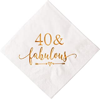 Crisky 40 and Fabulous Cocktail Napkins Rose Gold for Women 40th Birthday Decorations, 40th Birthday Bevergae Dessert Table Supplies, 50Pcs, 3-Ply