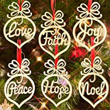 Christmas Decorations Decorative Hanging Ornaments Wooden Ornament Xmas Tree Hanging Tags Pendant Decor Wooden Hollow Out Ornament Wood Peath Love Joy Faith Noel Hope Hanging Decorations Xmas 6PCS