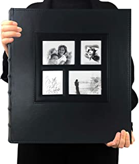 RECUTMS Photo Album 4×6 600 Photos Black Pages Large Capacity Leather Cover Wedding..