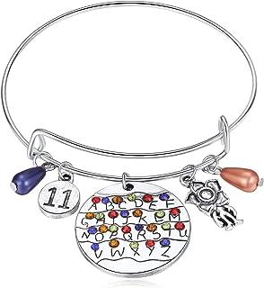 Stranger Things Themed Bracelet ST Merchandise Alphabet Jewelry Light Eleven Demogorgon Bangle Halloween Cosplay Costume for Girls Women