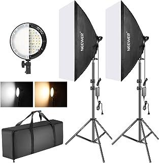 Neewer Foto tvåfärgad dimbar LED softbox belysning 20 x 27 tum 45 W LED-ljushuvud med 2 färgtemperatur och ljusstativ för ...