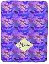Personalized Galaxy Horse Pattern Fleece Throw Blanket - Blankets with Horses for Girls Kids Winter Warmth Bedding Saddle Up (Child 50