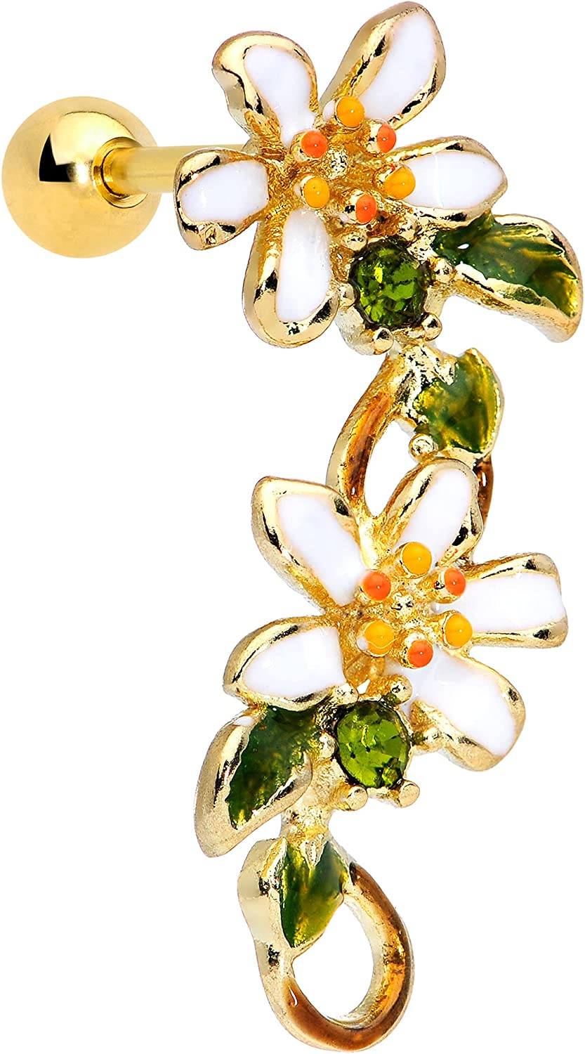 Body Candy 16G Womens PVD Steel Green Accent Daisy Flower Cartilage Earring Helix Tragus Jewelry 1/4