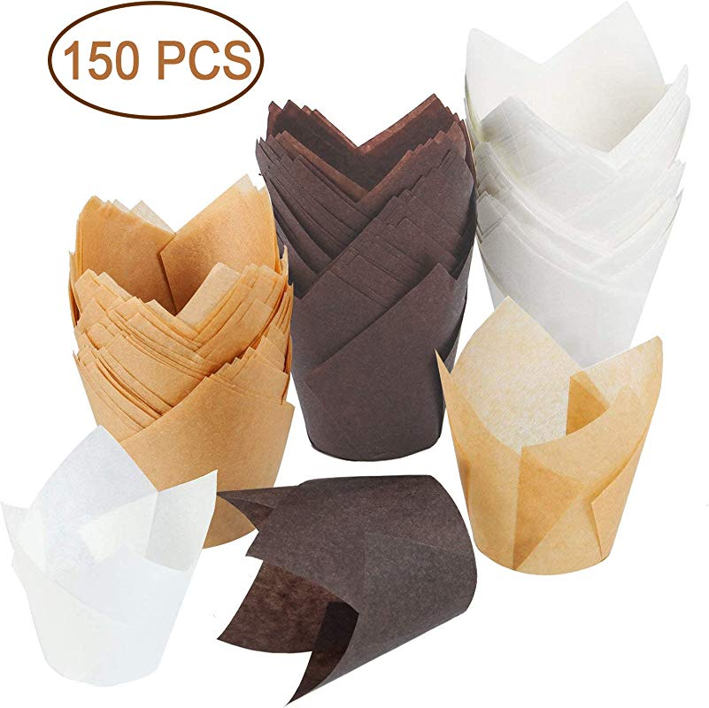 150 Pieces Tulip Baking Paper Cups Cupcake Or Muffin Liners Wrappers Tulip Baking Cup Holder For Weddings Birthdays Parties Brown Natural Color White