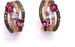 LeVian Earrings Pink Tourmaline, Rhodolite Garnet, Amethyst, Chocolate and Vanilla/White Diamonds 1.90 cttw Omega Back 14k Rose Gold