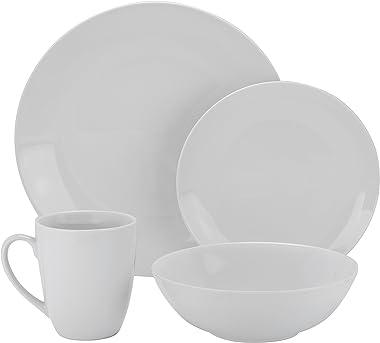 10 Strawberry Street Simply Coupe 16 Piece Dinnerware Set, White - SM-1600-CP-SW