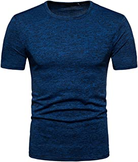 GREFER Men's Summer Casual Solid Round Neck Pullover T-Shirt Top Blouse