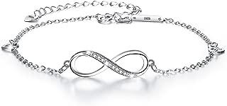 EVER FAITH 925 Sterling Silver White CZ Infinity Symbol Heart Charm Adjustable Bracelet Gift for Women