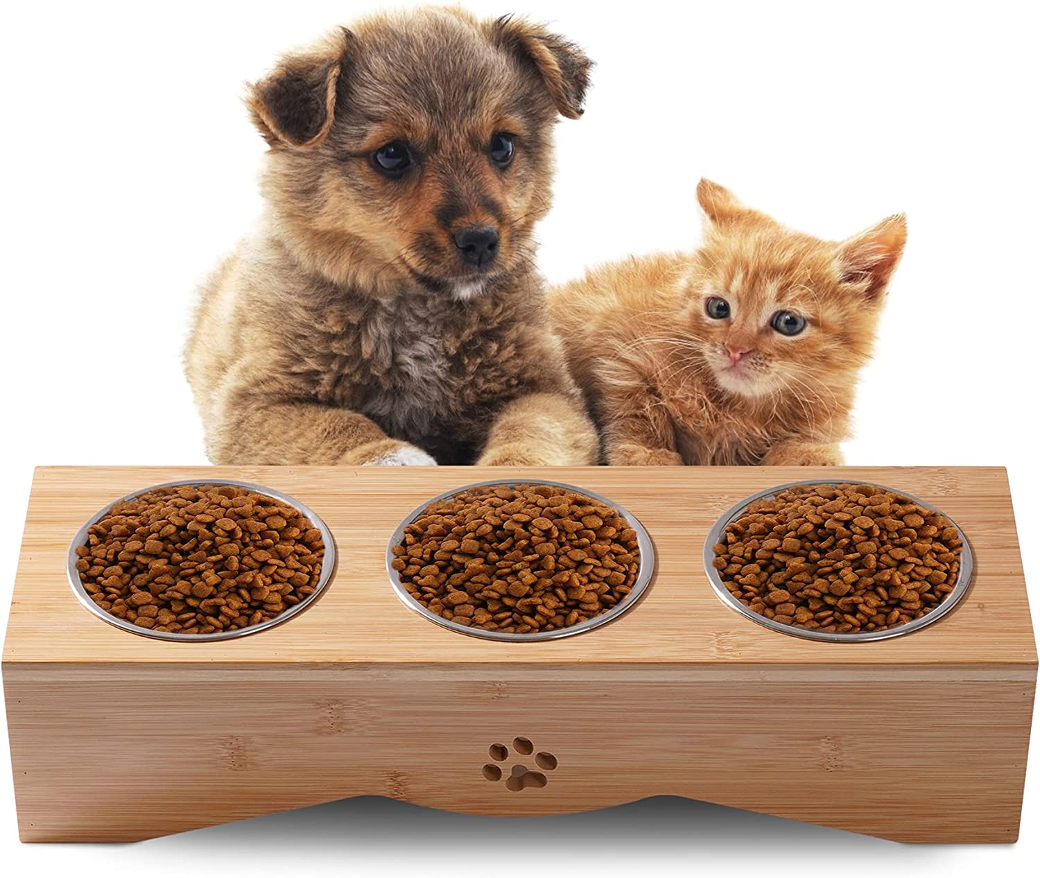 JAZUIHA Multiple Cat Elevated Bowls Dog Weekly update Sale Special Price with Bowl Stainless Bamb